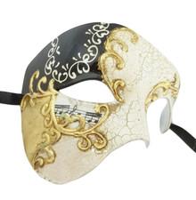 Men's Phantom Music Black Gold Large Mardi Gras Masquerade Elegance Mask