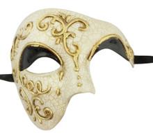 Men's Phantom Black Gold Off White Cream Large Mardi Gras Masquerade Elegance Mask
