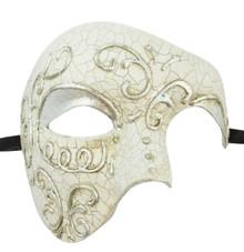 Men's Phantom Silver Off White Cream Large Mardi Gras Masquerade Elegance Mask