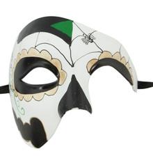 Men's Phantom White Day of the Dead Large Mardi Gras Masquerade Halloween Mask