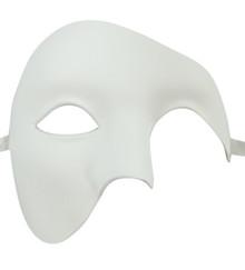 Men's Phantom White Basic Craft Large Mardi Gras Masquerade Halloween Mask
