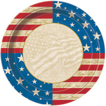 "USA Party 8 9"" Lunch Dinner Plates Patriotic July 4th Memorial Veterans"