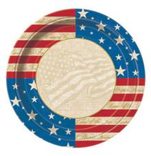 "USA Party 8 7"" Dessert Cake Plates Patriotic July 4th Memorial Veterans"