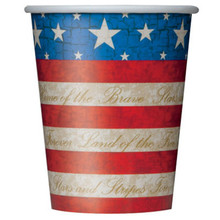 USA Party 8 9oz Paper Hot Cold Cups Patriotic July 4th Memorial Veteran