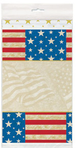 "USA Party Tablecover 54"" x 84"" Patriotic July 4th Memorial Veterans"