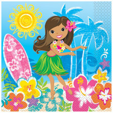 Hula Beach Party 16 Luncheon Napkins Hawaiian Girl Lei Surf Board