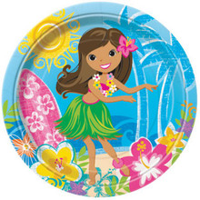 "Hula Beach Party 8 Luncheon Plates 9"" Hawaiian Girl Lei Surf Board"