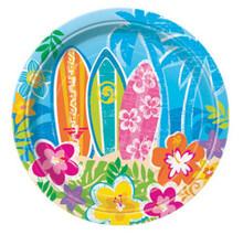 "Hula Beach Party 8 Dessert Cake Plates 7"" Surf Board Hibiscus Flower"