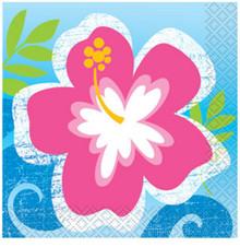 Hula Beach Party 16 Beverage Napkins Hibiscus Flower