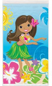"Hula Beach Party Plastic Tablecover 54"" x 84"" Hawaiian Girl Lei Surf Board"