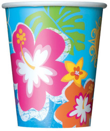 Hula Beach Party 8 9 oz Hot Cold Paper Cups Hibiscus Flower