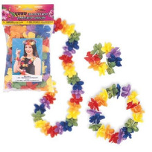 4 pc Hawaiian Luau Lei Assortment Flower (1 Lei 2 Bracelets 1 Headband)