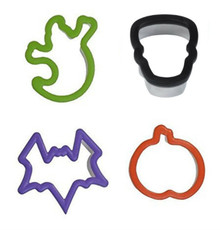Halloween Grippy Bagged Set 4 pc Cookie Cutters Ghost Pumpkin Bat Skull