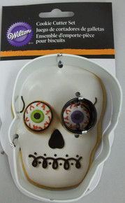 Wilton Metal Cookie Cutter Set 2 pc Halloween Skull Eye