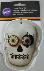 Wilton Metal Cookie Cutter Set 2 pc Halloween Skull Eye