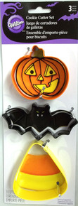 Wilton Colorful Metal Cookie Cutter Set 3 pc Halloween Bat Corn Pumpkin JOL
