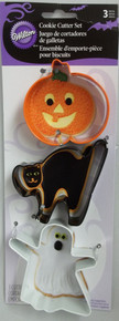Wilton Colorful Metal Cookie Cutter Set 3 pc Halloween Jack O Lantern Cat Ghost