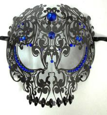 Black Skull Metal Laser Cut Masquerade Prom Mask Blue Crystals