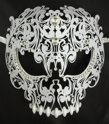 White Skull Metal Laser Cut Masquerade Prom Mask Pearl and Clear Crystals