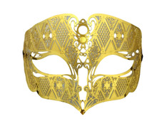 Gold Male Diamond Design Laser Cut Venetian Masquerade Metal Filigree Mask Men