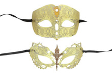 Gold Man Woman Couples Laser Cut Venetian Masquerade Metal Masks Set