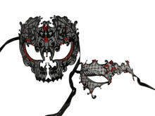 Black Red Skull Man Woman Couples Halloween Venetian Masquerade Metal Masks Set