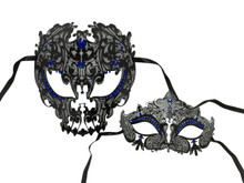 Black Blue Skull Man Woman Couples Venetian Masquerade Metal Masks Set