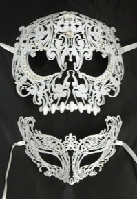 White Skull Man Woman Couples Halloween Venetian Masquerade Metal Masks Set