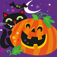 Happy Halloween Pumpkin Bat Cat 16 Luncheon Napkins