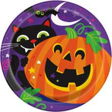 Happy Halloween Pumpkin Bat Cat 8 Dinner Luncheon Plates