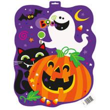 "Happy Halloween Ghost Pumpkin Bat Cat 16.5"" Cutout Wall Hanging"