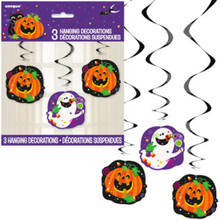 "Happy Halloween Ghost Pumpkin 26"" Hanging Swirl Cutouts 3 Pc"