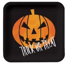 "Creepy Night Halloween Pumpkin ""Trick or Treat"" 8 Dessert Plates 7"""