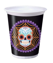 Day of the Dead Halloween Skull Plastic 16 oz Cups 8 ct