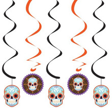 Day of the Dead Halloween Skull 5 Ct Dizzy Danglers Hanging Swirls