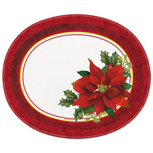 Holly Poinsettia 8 Ct Christmas Oval Paper Platters Party Banquet