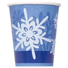 Winter Snowflake 8 Ct Christmas 9 oz Hot Cold Paper Cups Frozen Party