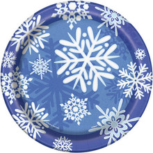 "Winter Snowflake 8 Ct Christmas 9"" Dinner Plates Frozen Party"
