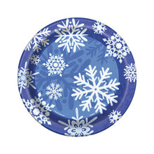"Winter Snowflake 8 Ct Christmas 7"" Dessert Plates Frozen Party"