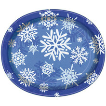 Winter Snowflake 8 Ct Christmas Oval Platters Banquet Plates Frozen Party