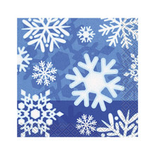 Winter Snowflake 16 Ct Christmas Beverage Napkins Frozen Party