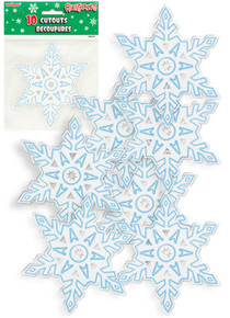 "Winter Snowflake 10 Mini Cutouts 5"" Christmas Frozen Party Supplies"