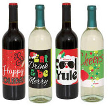 Christmas New Years Eve Holiday Beverage Wine Bottle Labels 4 Ct Party