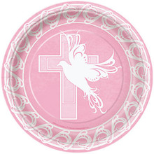 """Pink Dove Cross 8 Ct Lunch Plates 9"""" Baptism Christening Communion Party Supply"""