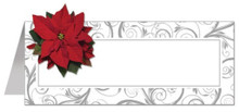 Poinsettia Swirls Christmas Placecard with Attachment Place Cards 12 ct