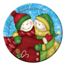 "Wintertime Greetings Snowman 8 Christmas 7"" Dessert Plates Party"