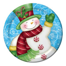 """Wintertime Greetings Snowman 8 Christmas 9"""" Dinner Lunch Plates Party"""