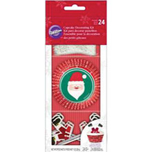Wilton Santa 24 Cupcake Kit with Liners Picks Christmas Decorating Treat