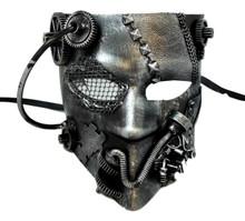 Wasteland Steampunk Bauta Masquerade Mask Men Antique Brushed Silver