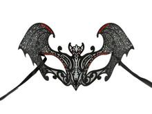 Black Gothic Bat Red Mask Masquerade Metal Filigree Halloween